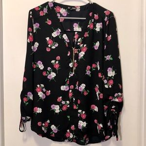Express Floral blouse with front zip